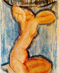 modigliani, cariatide, 1913-14, Parigi, Musée d'Art Moderne de la Ville de París