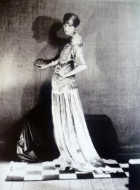 man ray - peggy guggenheim in a dress by paul-poiret, 1924