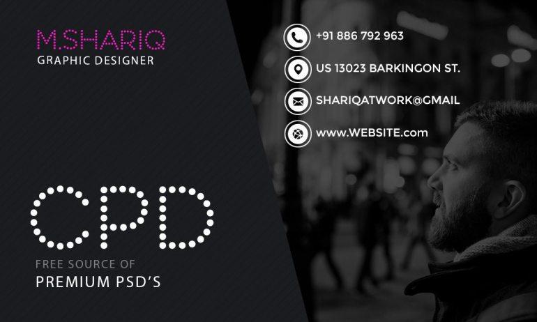 Dark Theme Graphic Designer Business Card Template Front