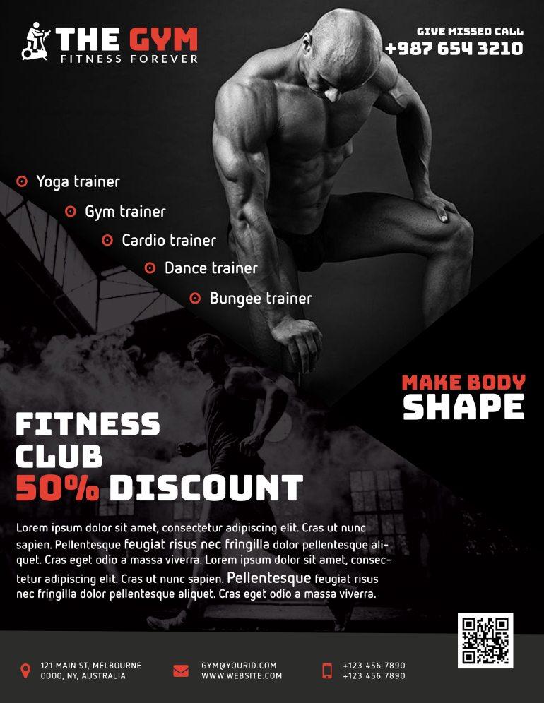 The Gym Fitness Flyer Freebie PSD Black