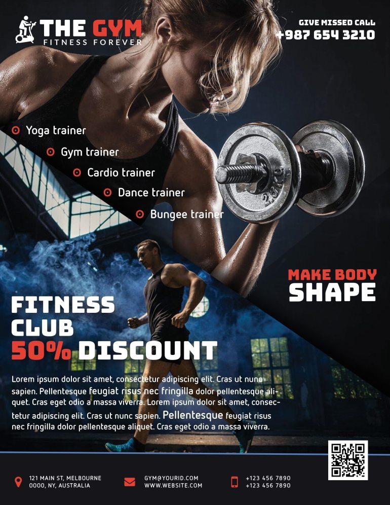 The Gym Fitness Flyer Freebie PSD Cyan