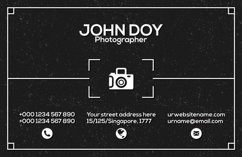 Premium Photographer Business Card Template Front