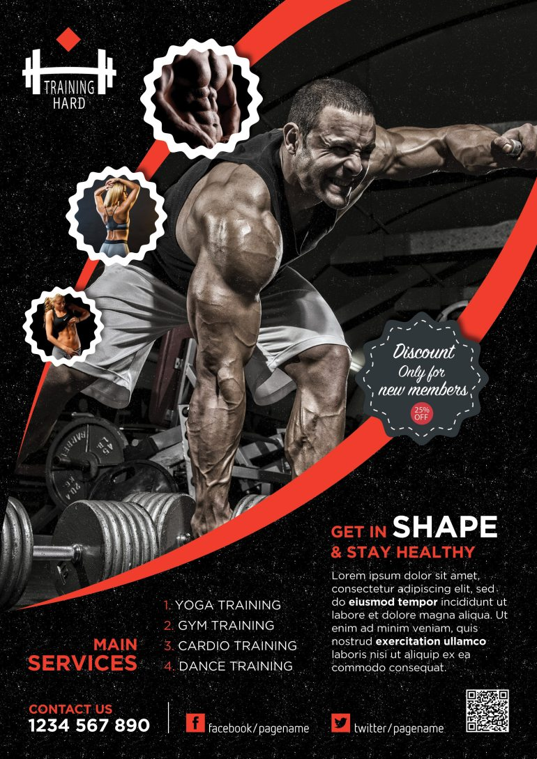 Professional Fitness Flyer Free PSD Red