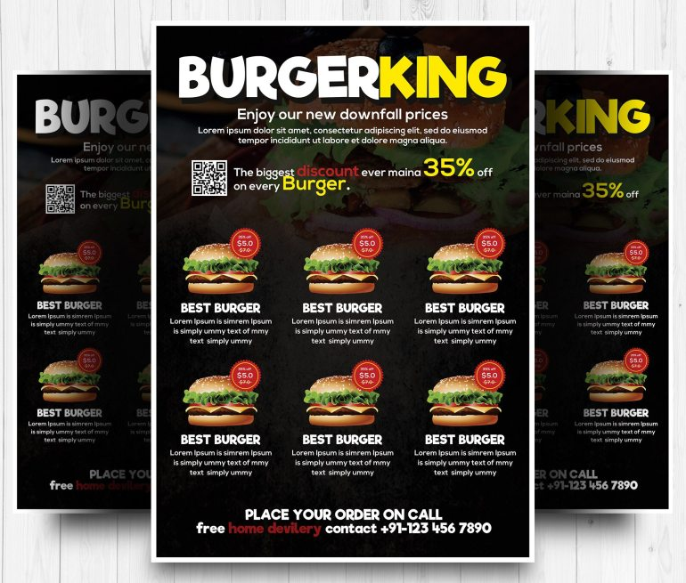 Burger Menu Free Flyer PSD