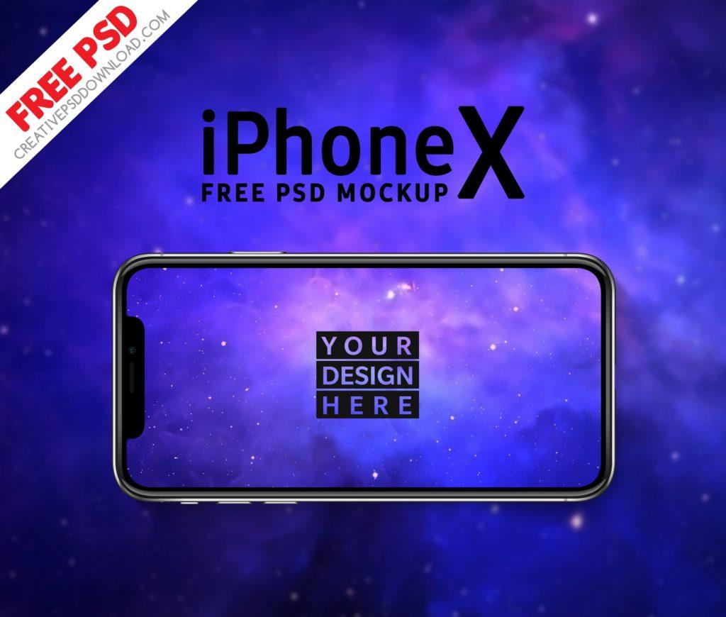 iPhone-x Landscape Free PSD Mockup