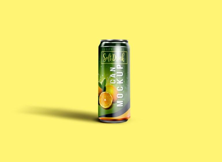 Single Soda Can Mockup
