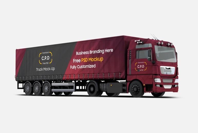 Truck Mockup Right Side View Free PSD