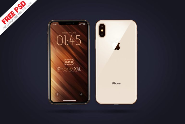 iPhone Xs Front & Back Mockup Free Psd