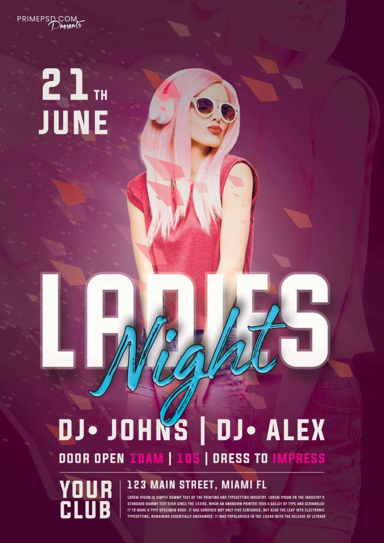 Ladies Night Party PSD Flyer