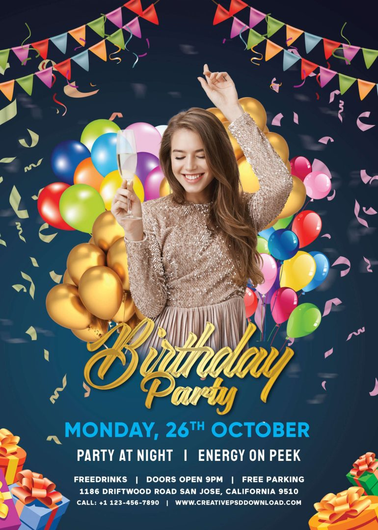 birthday party flyer free psd