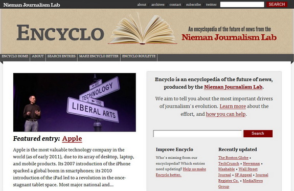 Encyclo website about future of journalism