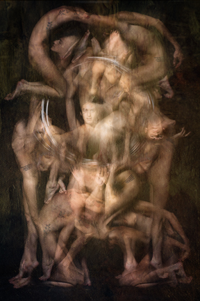 """Gates after Rodin"" is part of the Multiple Exposures collection by Harold Davis. The series shows an unusual photographic technique in which Harold Davis captures in-camera multiple exposures that are precision timed in the studio using strobes and motions choreographed with a model or models. The artisanal pigment prints are output on Moab Slickrock Metallic Pearl on an Epson Stylus Pro 9900 printer with Epson Ultrachrome HDR inks. Photo: ©Harold Davis"