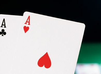 2 aces from a deck of playing cards