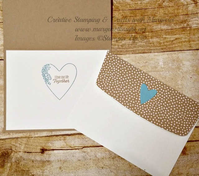 Interior of Anniversary Card and Embellished Envelope using the Stampin' Up! Meant to Be Bundle
