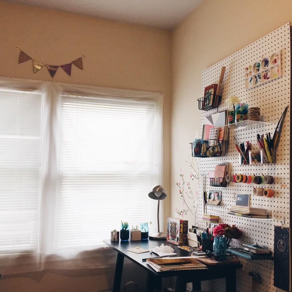 creative workspace organized