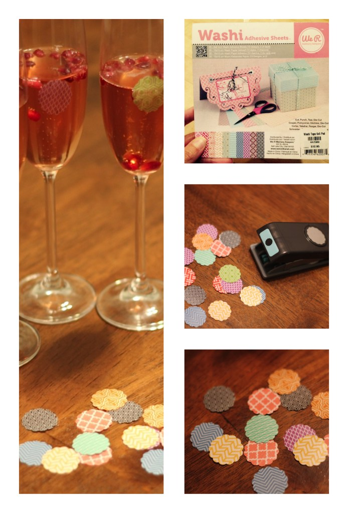 Washi tape wine glass markers with punch from the Paper Source.