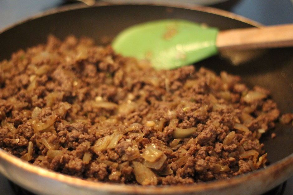 Sautee onions and bison with other spices and ingredients.