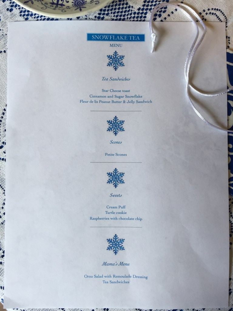 Snowflake Tea Menu