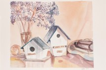 Water Color painting of bird houses