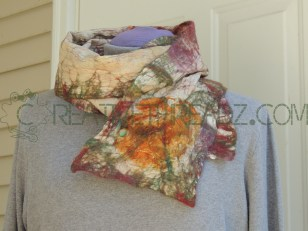 eco dyed silk scarf, merino wool with silk flower embellishment