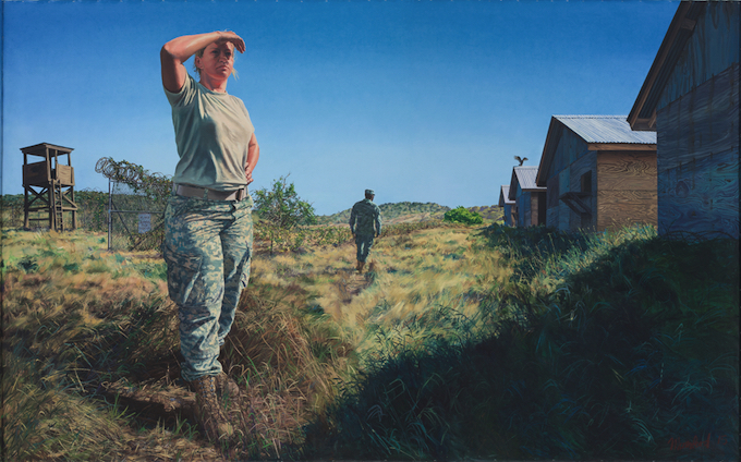 Steve Mumford, Trisha and Brian at Camp X-Ray, Guantanamo, 2016. Oil on canvas, 120 x 192 inches. Courtesy of the artist and Postmasters Gallery, New York.