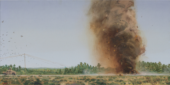 Steve Mumford, Large IED, 2009. Oil on linen, 18 x 36 inches. Courtesy of the artist and Postmasters Gallery, New York.