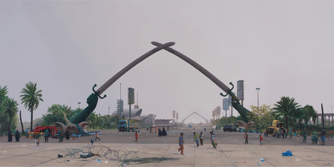 Steve Mumford, Crossed Swords Monument, 2016. Oil on canvas, 36 x 72 inches. Courtesy of the artist and Postmasters Gallery, New York.