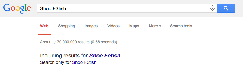 Shoo F3tish Google Search Screen Shot