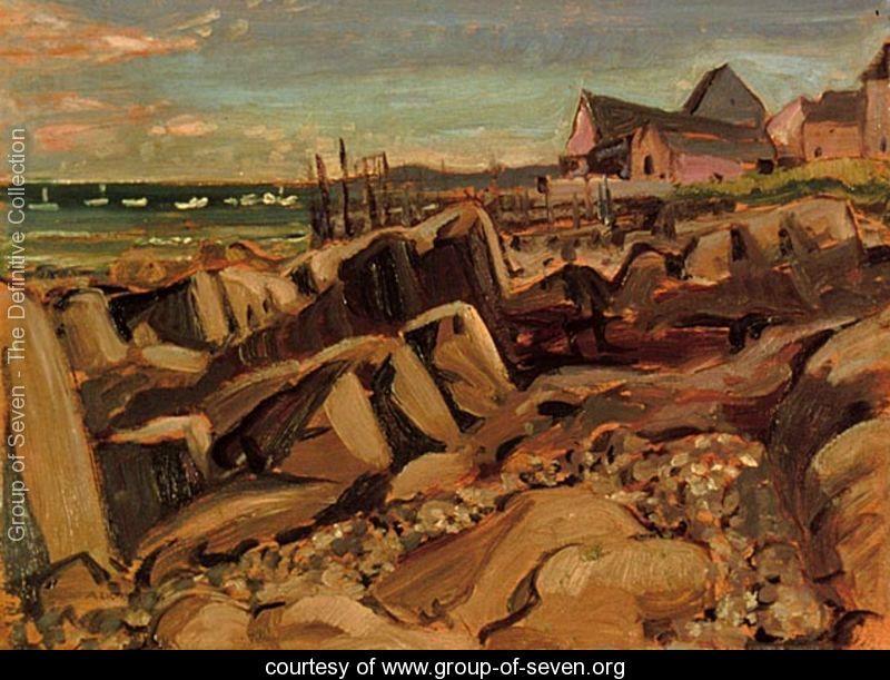 Fishing Village in New Brunswick by Arthur Lismer