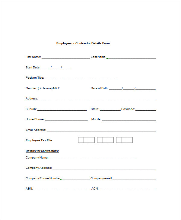 Employee or Contractor Details Form Template