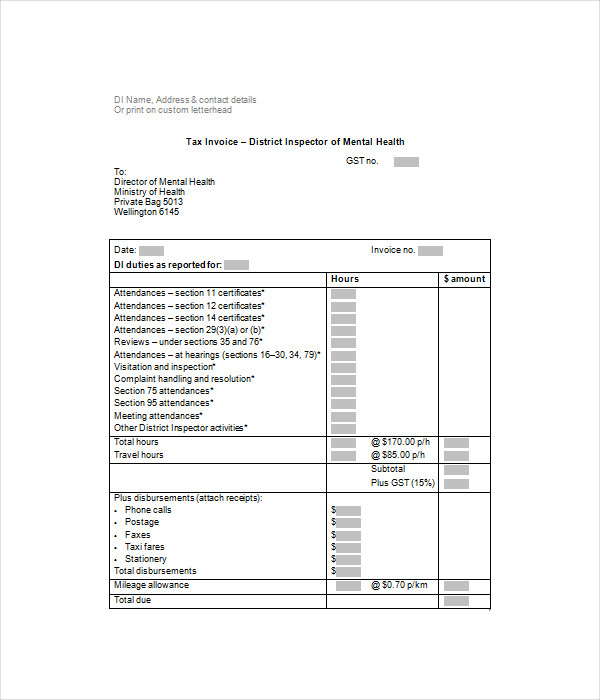 Health Inspector Invoice Template Free Download