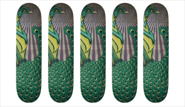 Peacock Skateboard Design