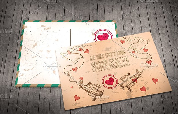 Vector Wedding Invitation Postcard