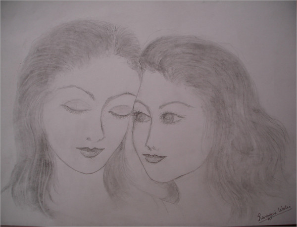 Sisterhood- Charcoal Drawing On Paper