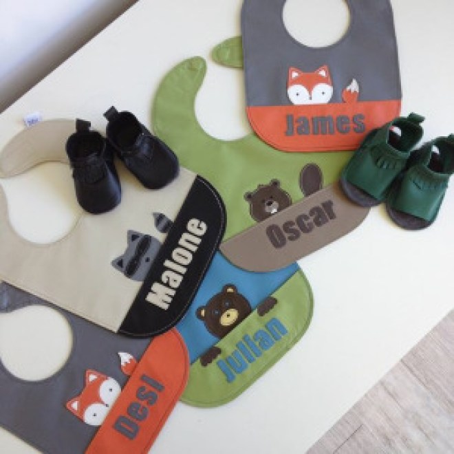 mally bibs with custom names and animals