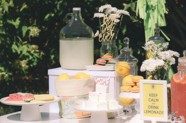 lemon and melon summer party treat stand