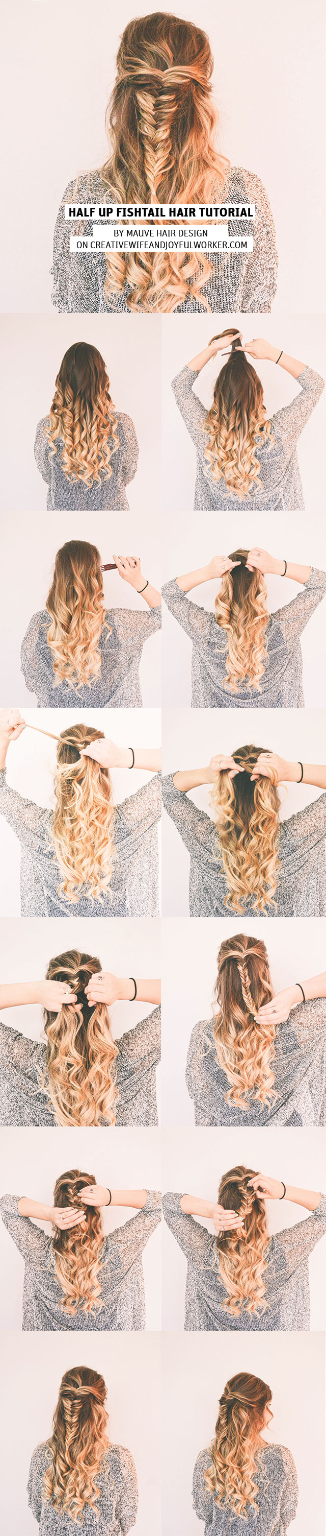 Halfup Fishtail HairTutorial by Mauve Hair Design on Creative Wife and Joyful Worker