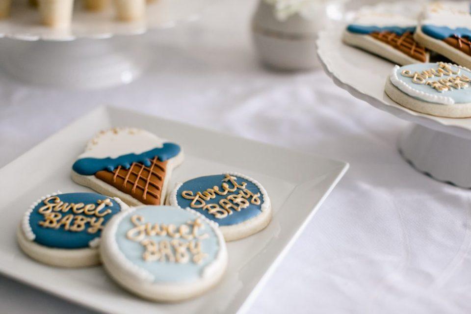 Icecream Themed Sweet Baby Shower | Icecream cone sugar cookies