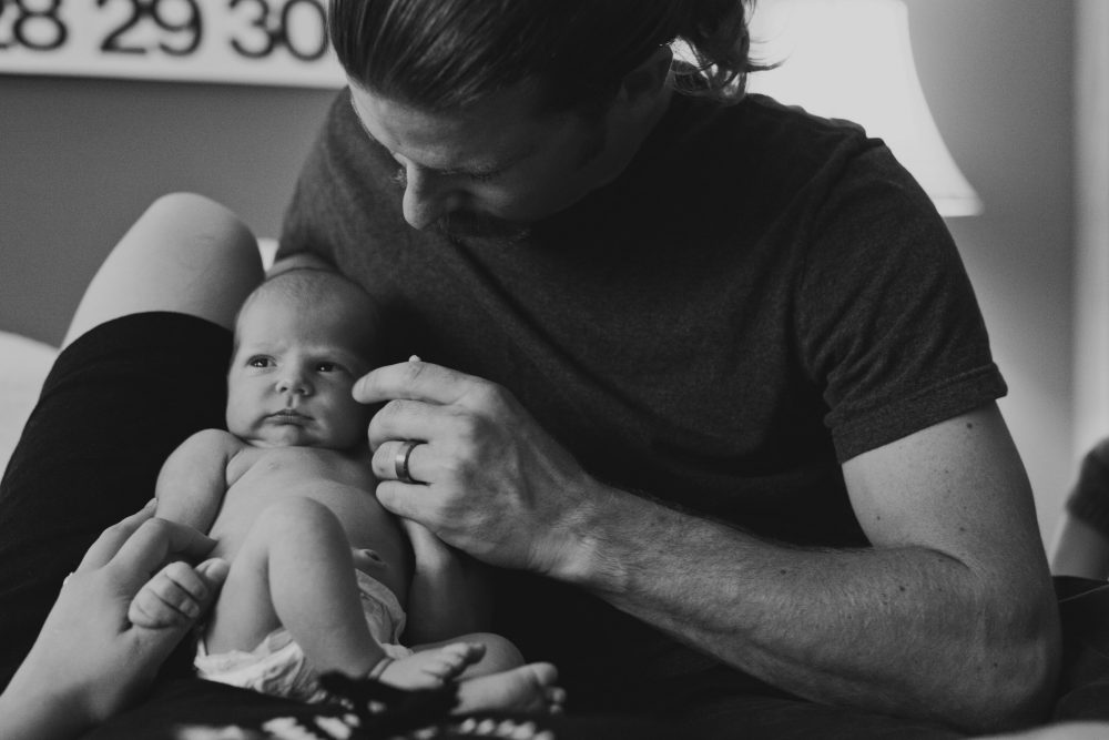 Black and White Newborn Baby Photography Father and Daughter