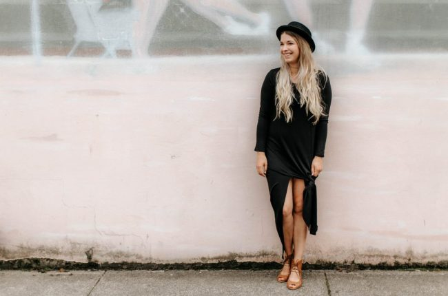Black Maxi Dress style with a Knot
