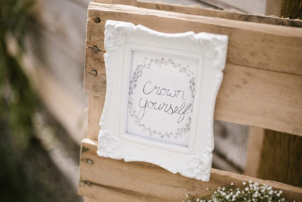 DIY Crown station at floral and white baby shower | White Boho Baby Shower