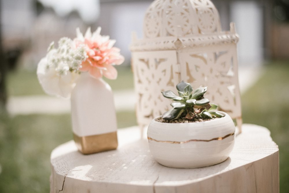 Potted plant from Three Corners Artisan at baby shower | White Boho Baby Shower