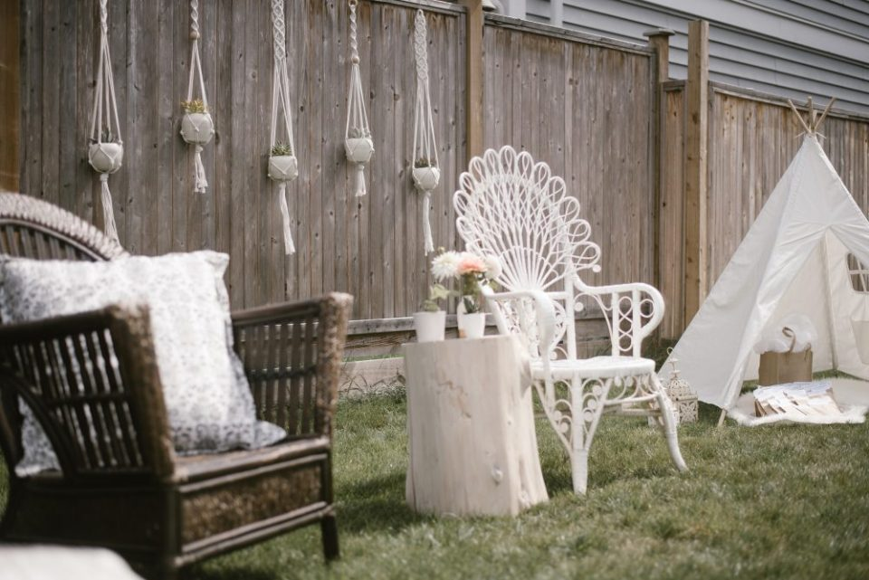backyard styled boho and white lace baby shower | White Boho Baby Shower