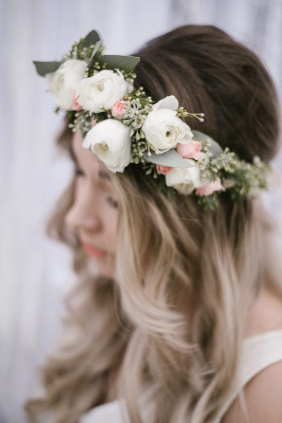 Guest of Honor with Fresh Floral Crown   White Boho Baby Shower