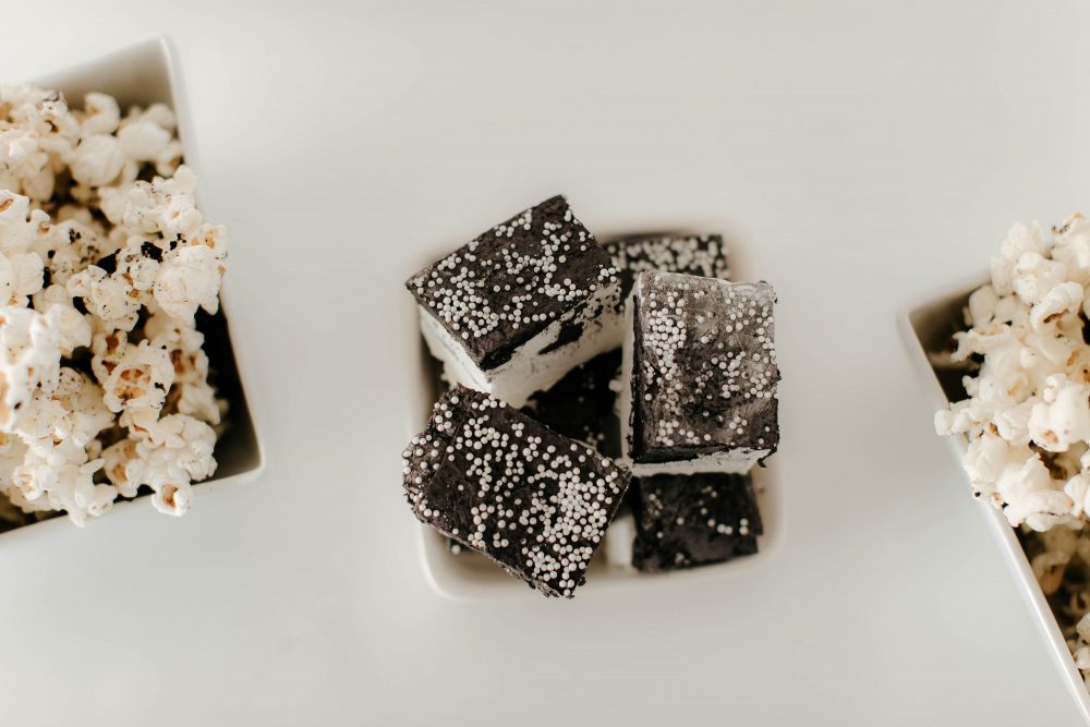 Custom Black and White Sprinkly Marshmallows and Cookies and Cream Popcorn