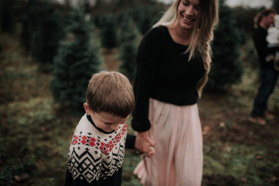 Mother and Son | Christmas themed holiday Family Photos with kids