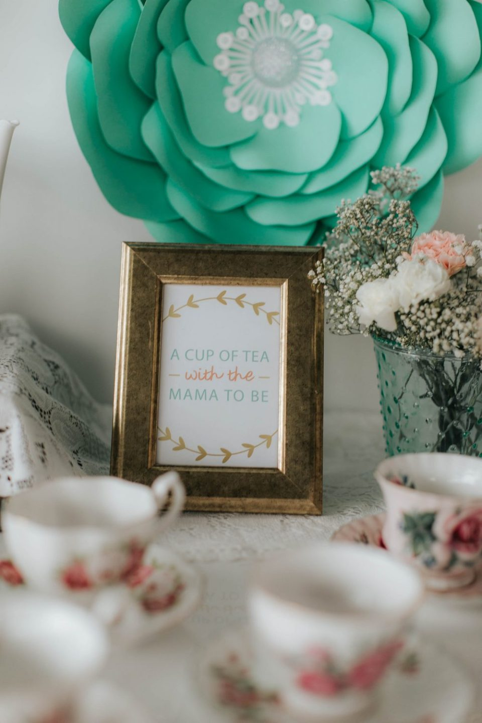 Free Printable for Mint and Peach Tea Party Baby Shower