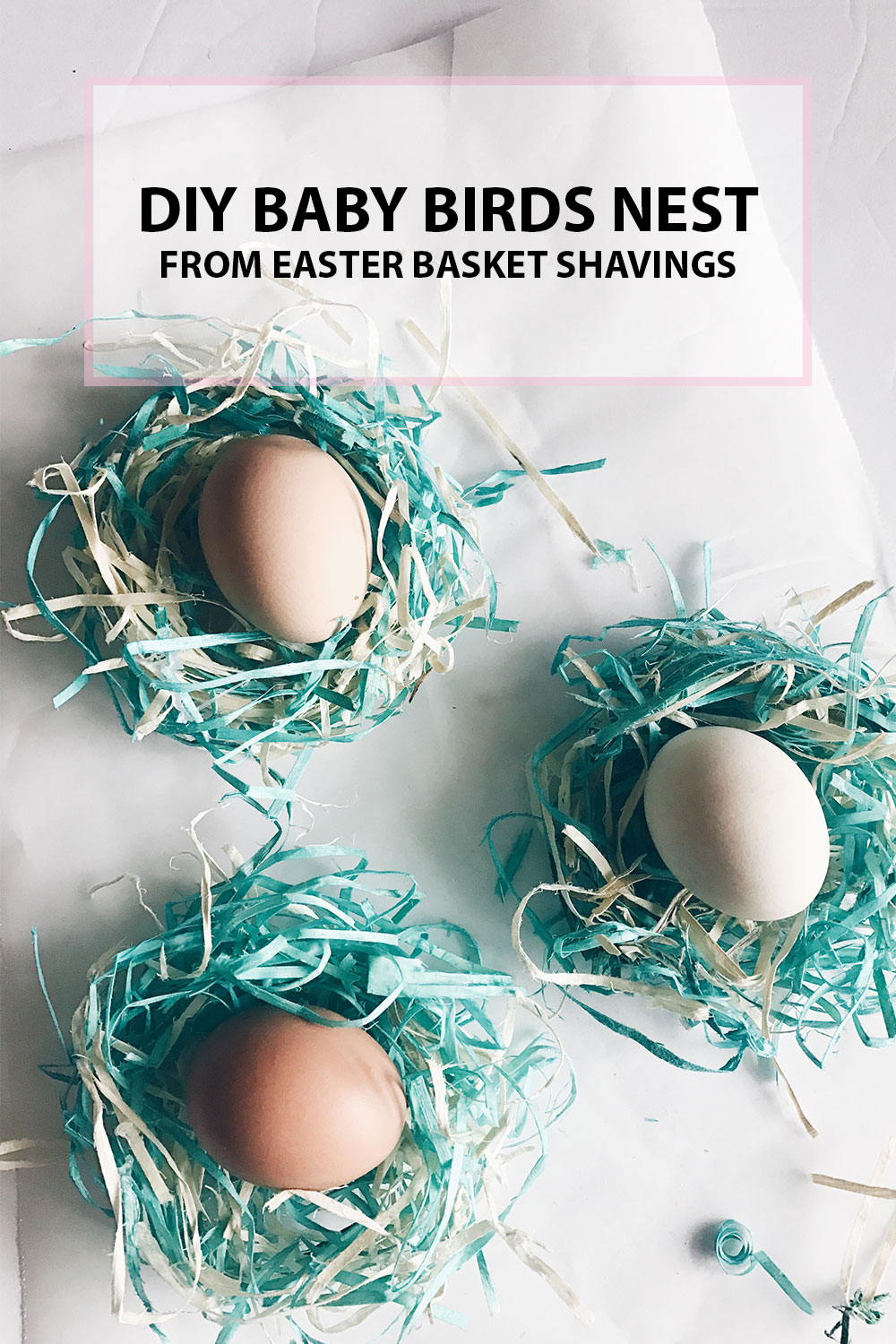 DIY Birds Nest from Easter Basket Shavings