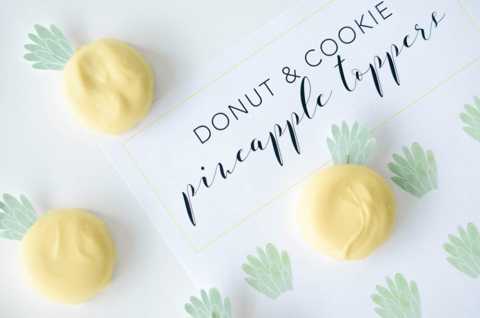 Cookie and Donut Pineapple Toppers Free Printable | Easy DIY for Tropical Themed Party