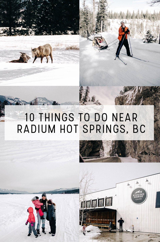 10 Things to do Near Radium Hot Springs | Big Horn Meadows Resort, Nipika Cross Country Skiing, Radium Hot Springs Pools, Windermere Lake, Kicking Horse Coffee, Big Horn Sheep Sightings